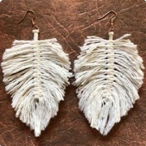 Boho macrame earrings oversized handmade gypsy